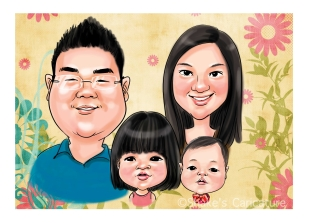 family caricature head only