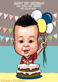 baby birthday©Shake's Caricature
