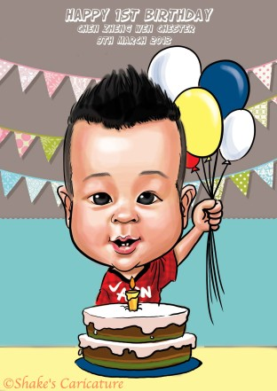 baby birthday©Shake's Caricature