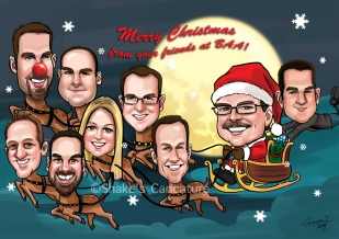 Group Caricature _ Merry Christmas _ Santa