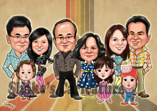 Family caricature (head+body)
