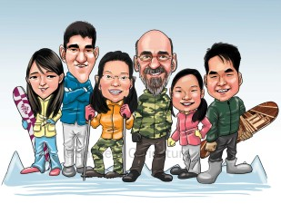 family caricature skiing