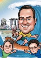 Father-and-sons-Surfing©Shake's Caricature