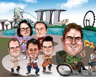 Singapore Group Caricature_ Farewell_ MBS