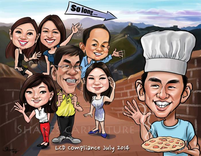 Farewell Caricature Great Wall of China
