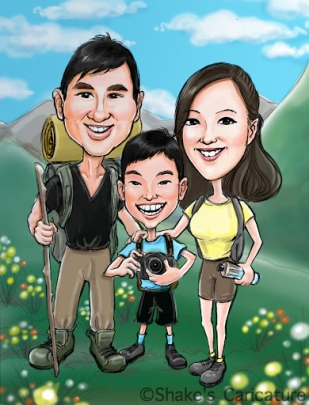 family caricature hiking