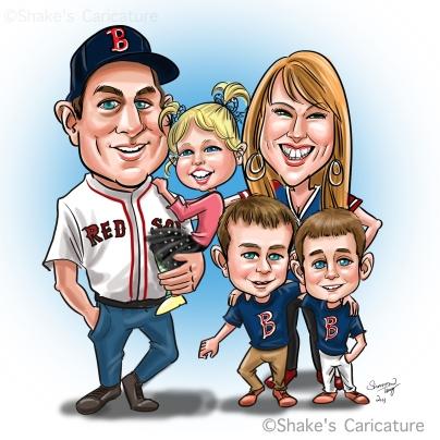 family caricature baseball