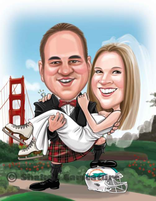 Wedding Caricature San-Francisco_Golden-Gate-Bridge