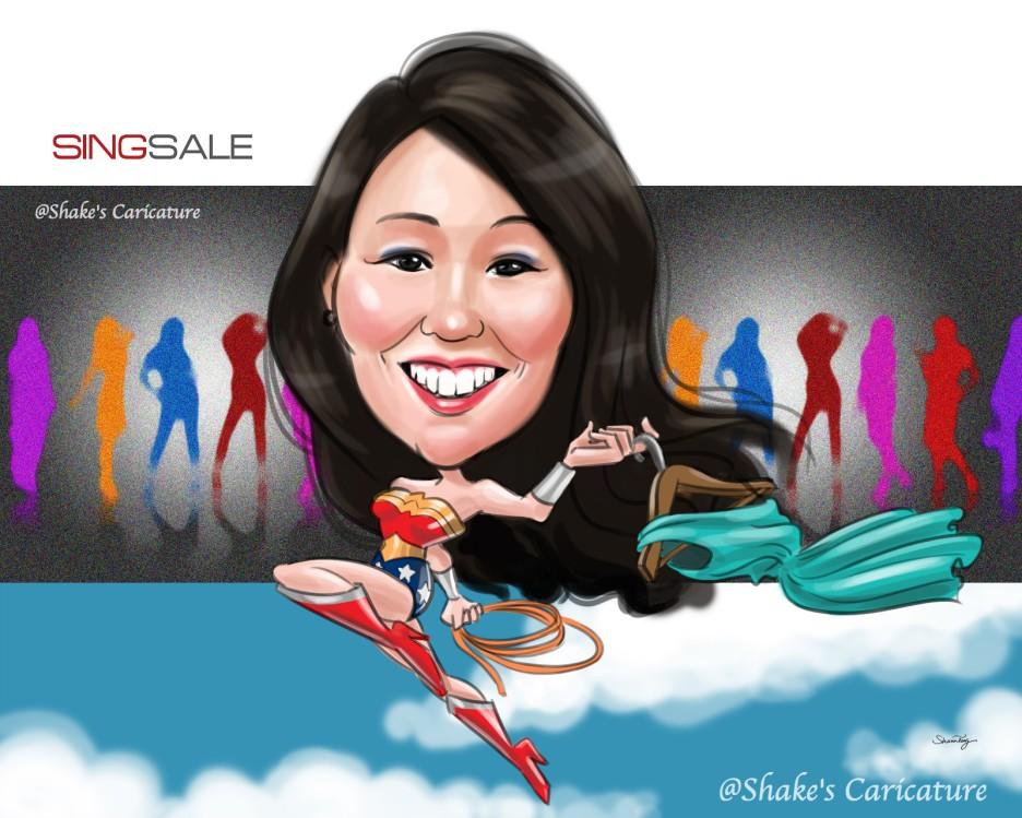 Single_superwoman_boss_Singsale@Shake's Caricature