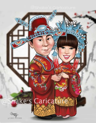 Wedding Caricature _Chinese-troditional@Shake's Caricature