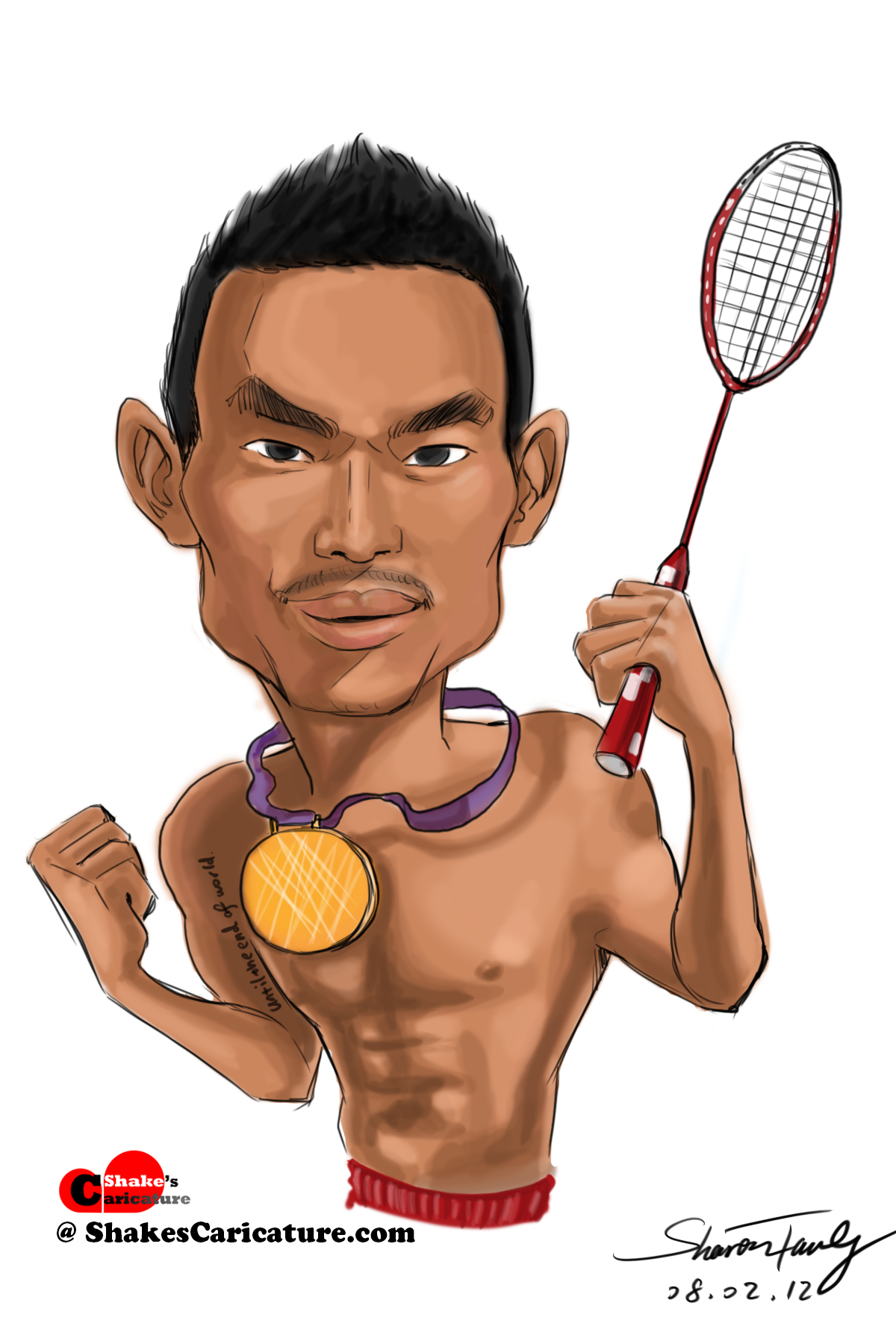 A Smile A Day 33 365 Caricature of Lin Dan