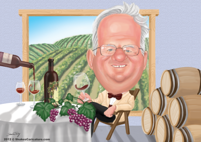 retirement caricature wine