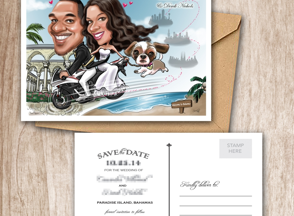 Wedding Caricature _ Wedding Invitation_ Save the date