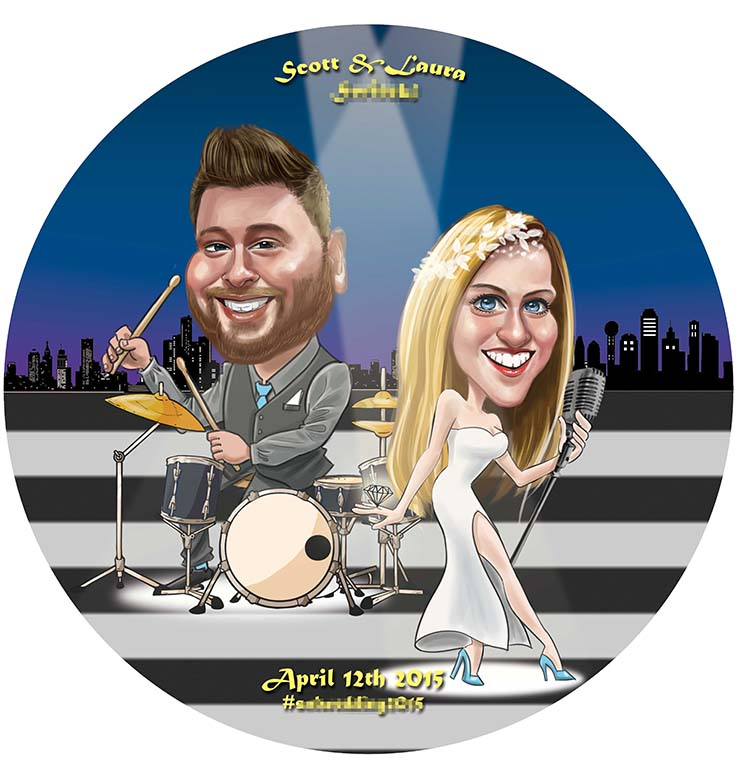 Wedding Caricature _ Playing drum Singing