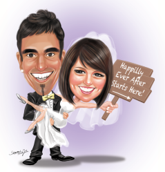 Wedding Caricature Sign Board Wooden