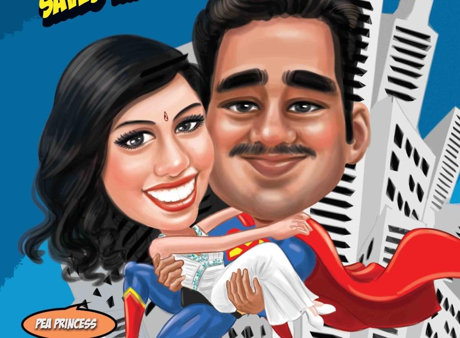 Wedding Caricature_ Hero Theme_ Indian Wedding