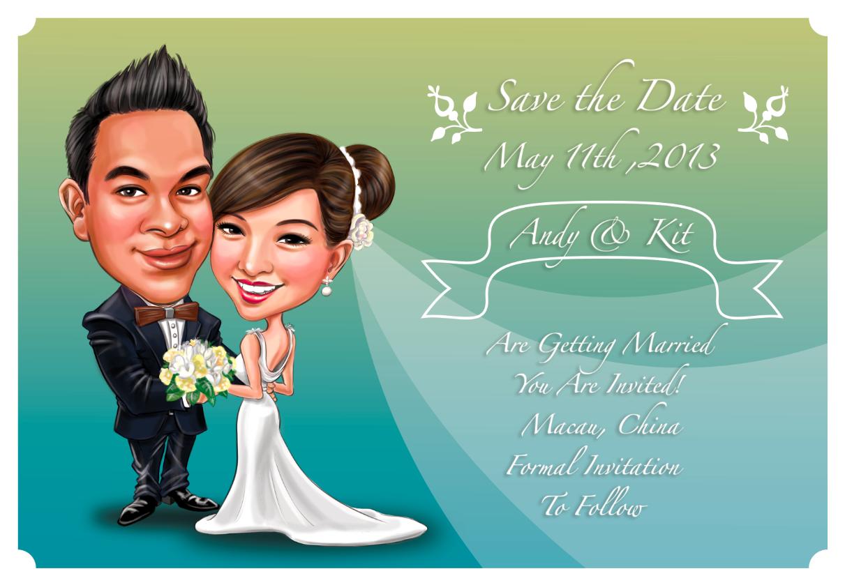 Custom Made Wedding Invitations with Personalized Cartoon ...