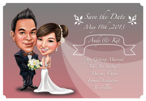 Wedding Caricature Save the Date 1