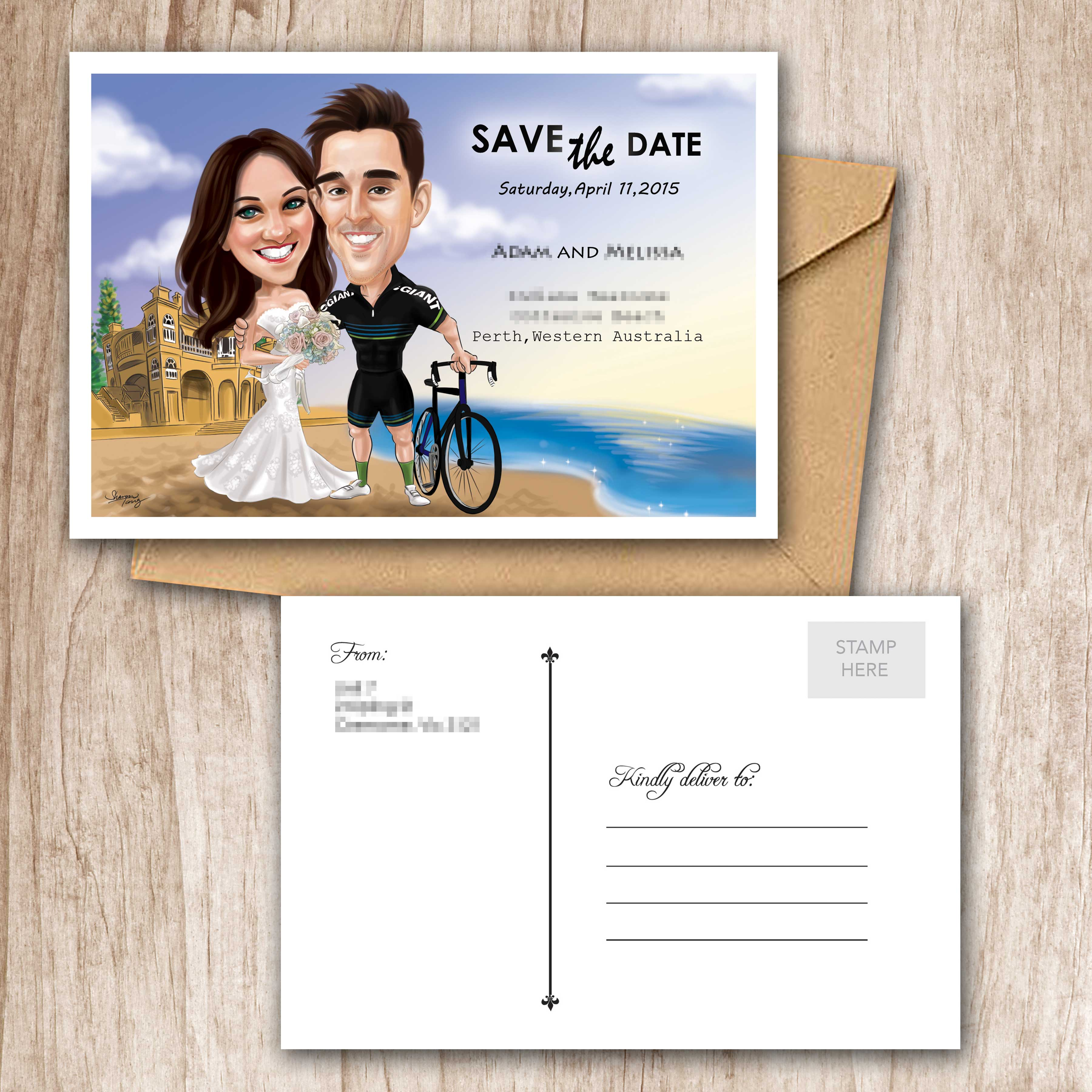 Wedding gifts shakes caricature wedding invitation save the date card 1 stopboris Image collections