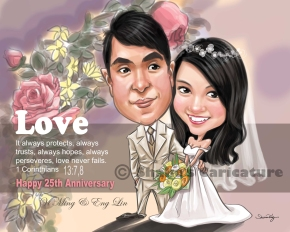 Wedding Caricature Singapore Car