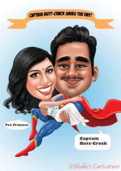 Couple_Superhero_Indian©Shake's Caricature
