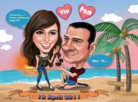 Proposed_couple_beach_Indian©Shake's Caricature
