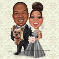 Wedding Caricature with pets dog
