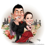 wedding caricature with flower