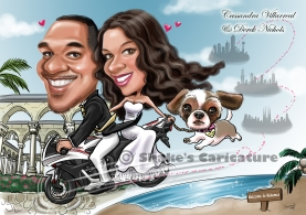 Wedding Caricature with Pets Dog Bike