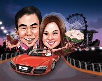Wedding Car Singapore Night Caricature