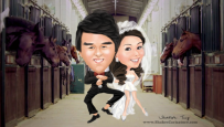 Wedding Gangnam Style (hourse version)©Shake's Caricature