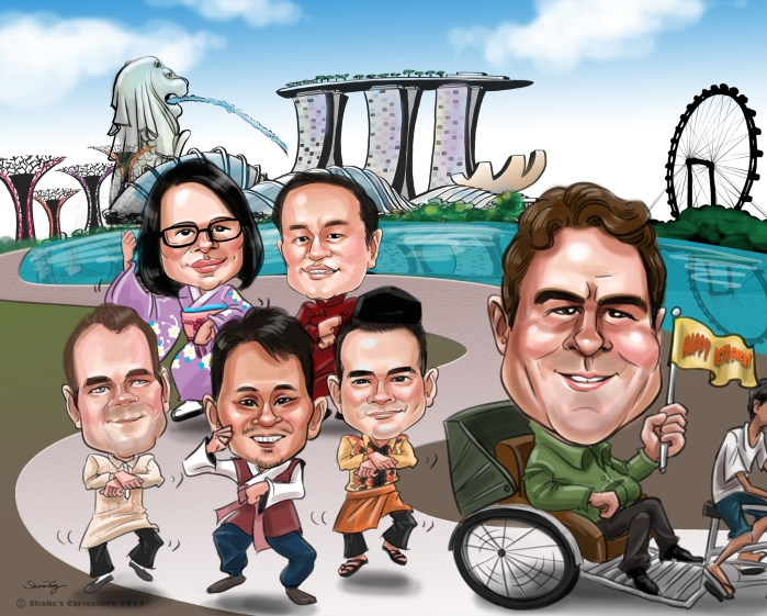 Farewell Caricature Leaving Singapore Gangnam Style