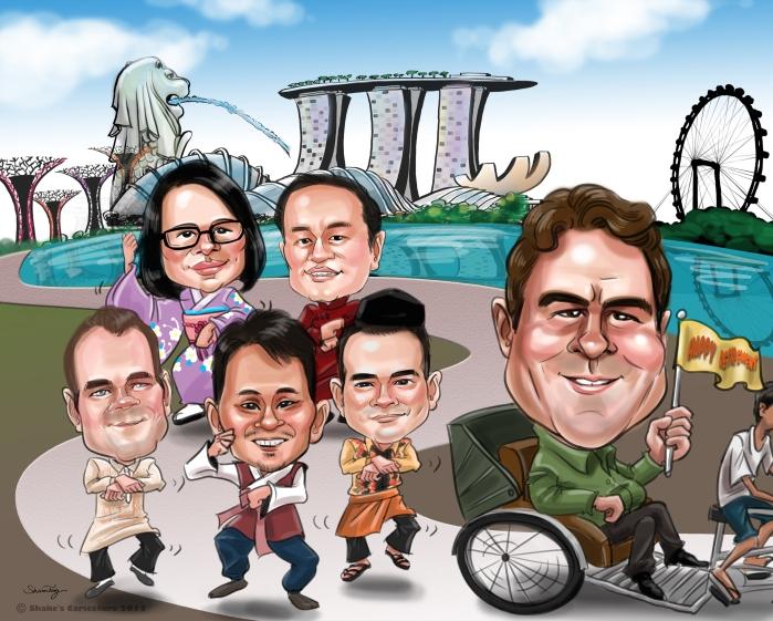 Farewell Caricature Leaving Singapore Gangnam Style