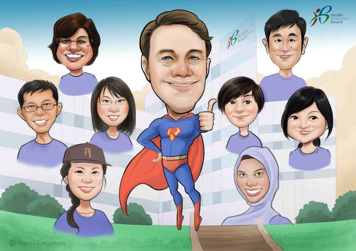 Farewell Caricature Super Hero Company
