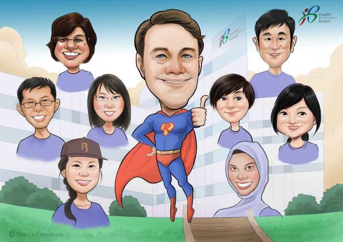 Farewell Caricature Super Hero Company