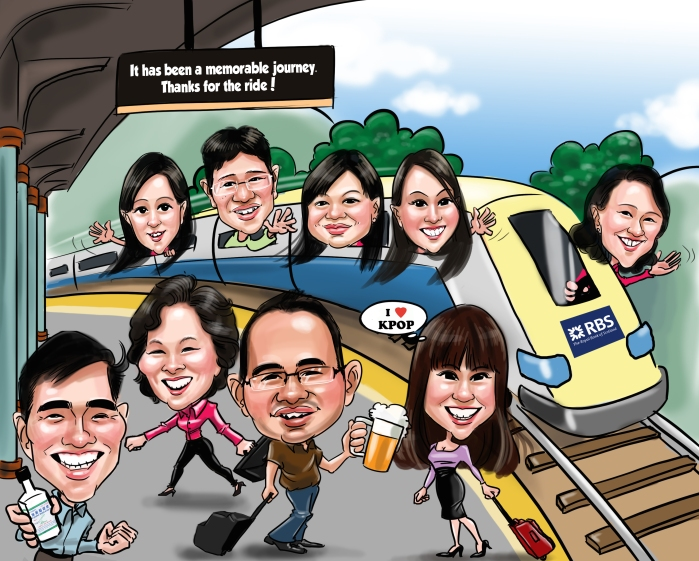 Farewell Caricature Train Bear leaving Singpore