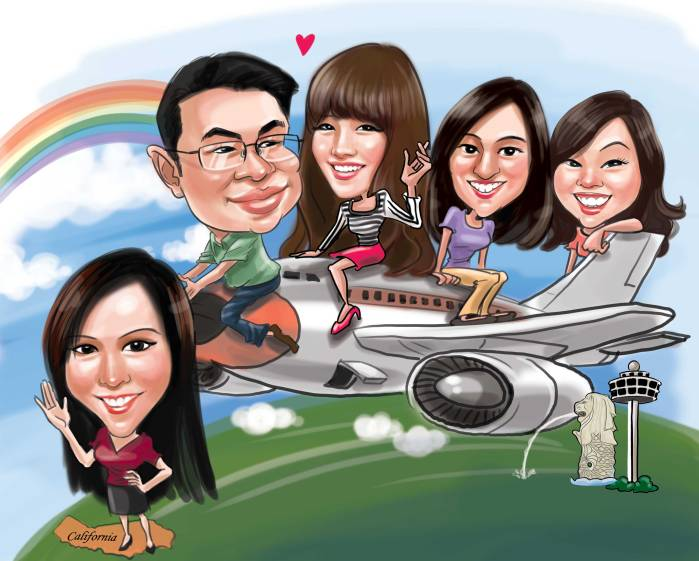 Farewell Caricature on the Airplane Singapore