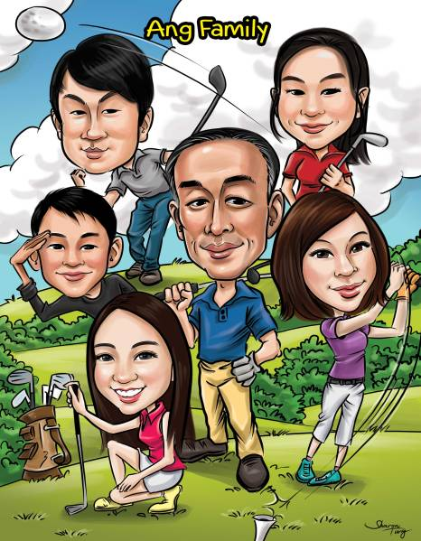Family Caricature Playing golf