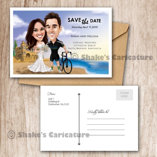 Wedding Caricature Couple Portrait Save the Date Beach