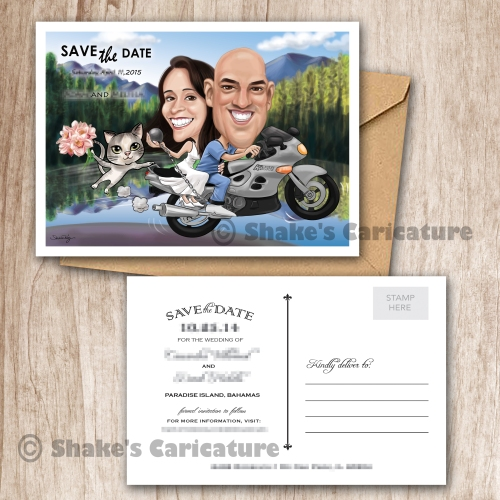 Wedding Caricature Couple Portrait with Pet_ Save the Date _ Invitation