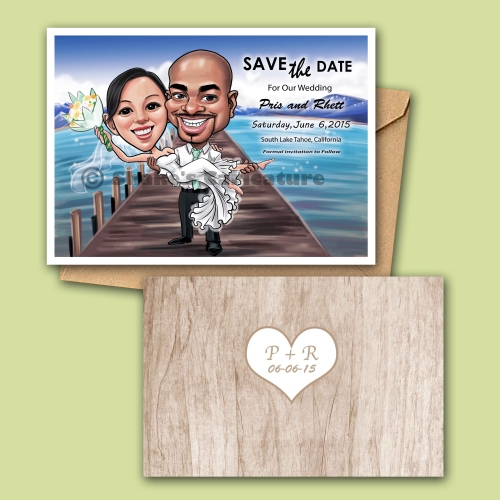 Wedding Caricature Couple Portrait Save the Date