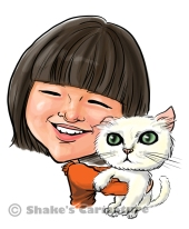 caricature with pet_ cat