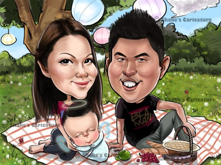 Family/ Couple Caricature _ Picnic Theme