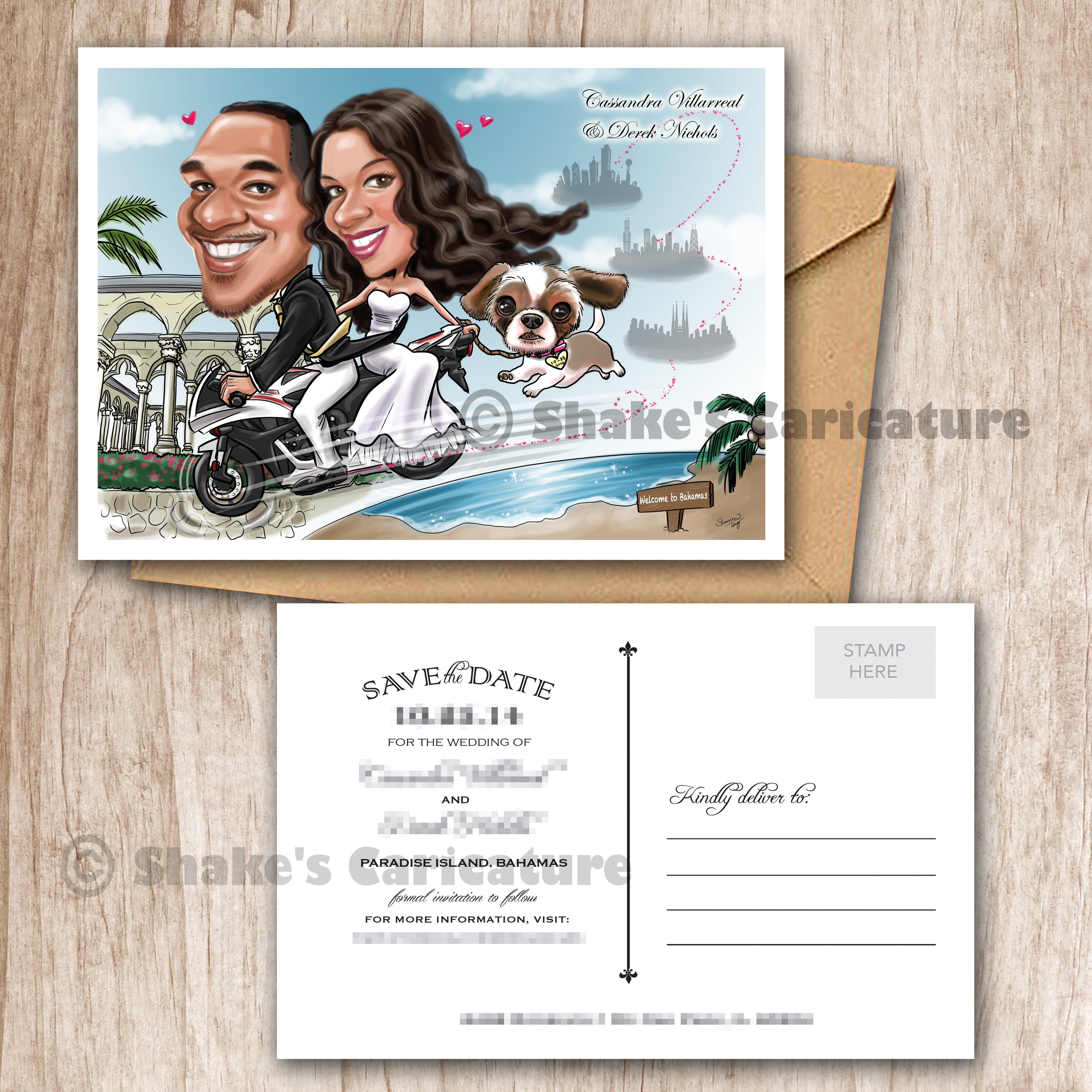 Wedding Caricature Couple Portrait Save the Date Bike | Shake\'s ...