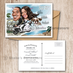 Wedding Caricature Couple Portrait Save the Date Bike