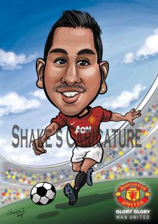 caricature_ soccer_ Man United
