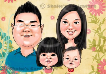 Family caricature _ head and shoulder only