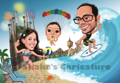 Family Caricature _ Beach theme
