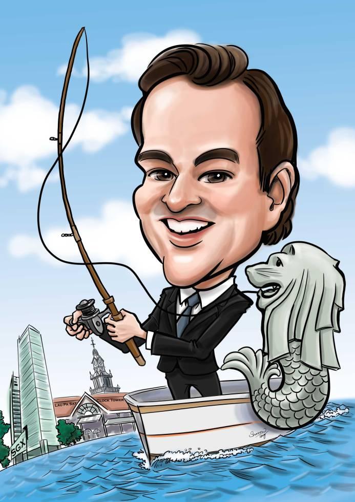 Single caricature fishman