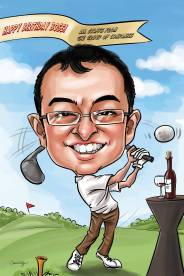 caricature_ playing golf